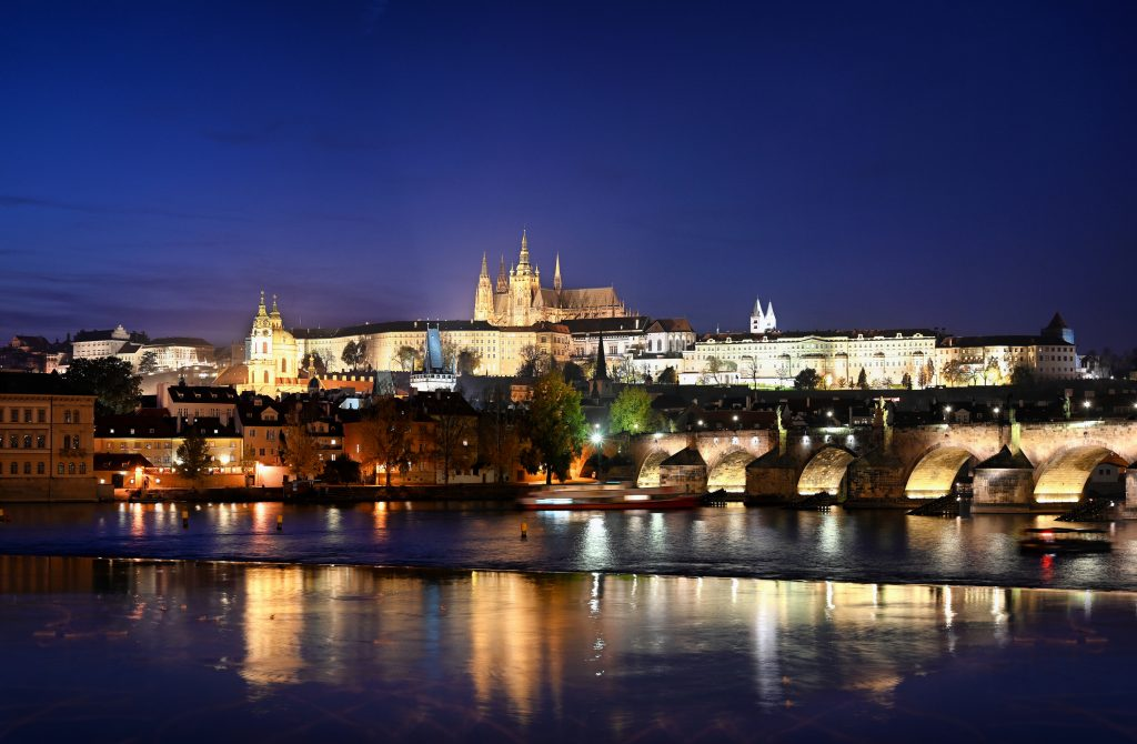 Prague Castle and the St. Charles Bridge. Nikon Z 7 and Z 24-70mm f/4 S.  f4.0 - 2 secs - 125 ISO.