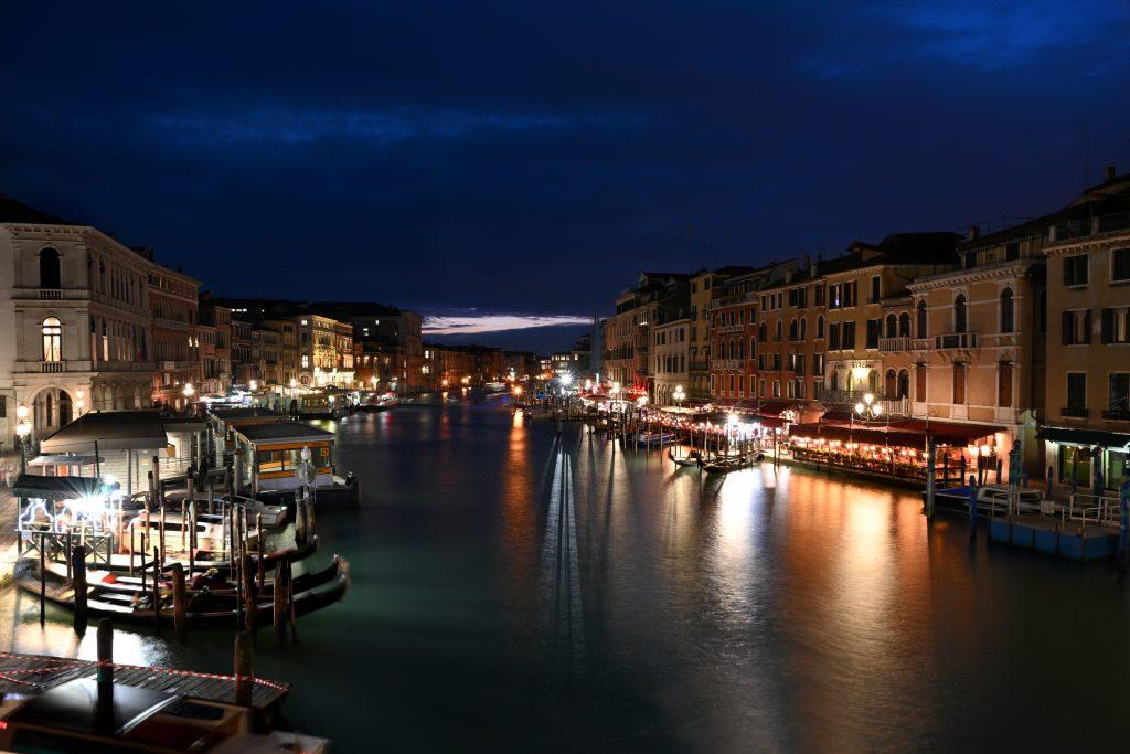 Dusk from Rialto Bridge, Grand Canal, Venice, Italy. Nikon Z 7 and Z 24-70mm f/4 S.  f10.00 - 20 secs - 64 ISO.