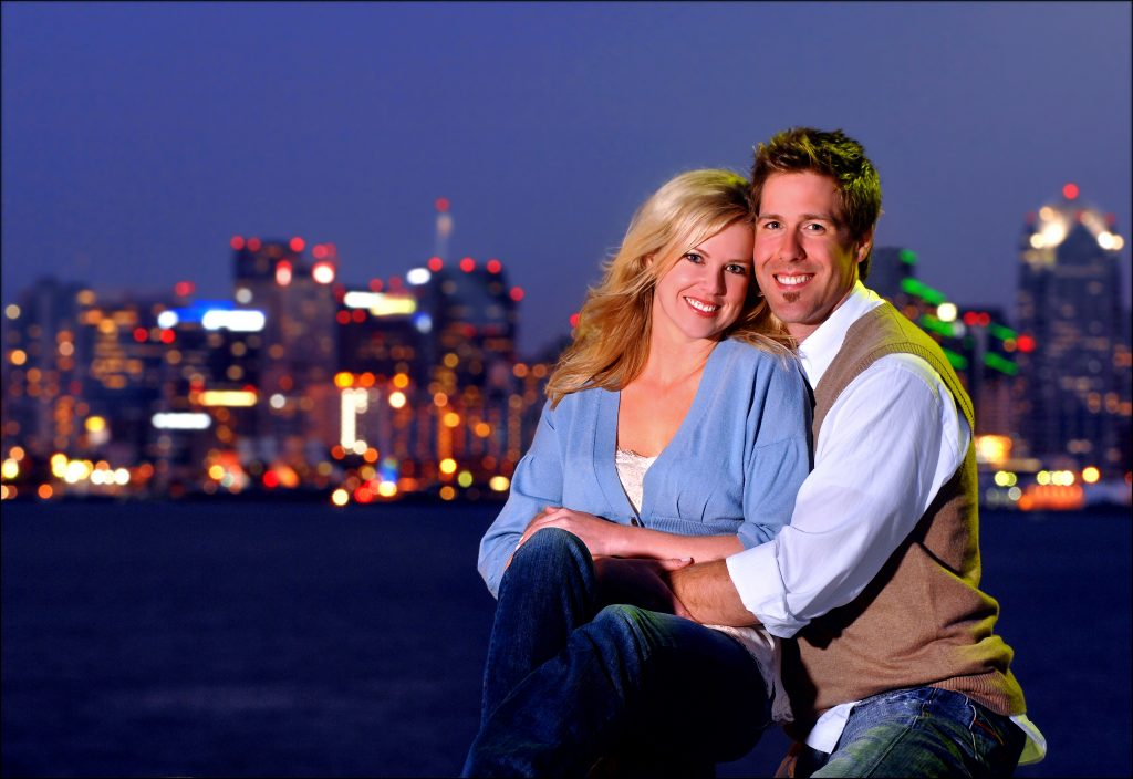 San Diego, Cuddle, snuggle, Nightscape, skyline, engagement portrait, portrait, Nikon D2x with AF-S 70-200 f2.8 I.  f8.0 - 2 secs - 200 ISO.